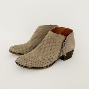 Lucky Brand Brielley Perforated Tan Bootie Size 7